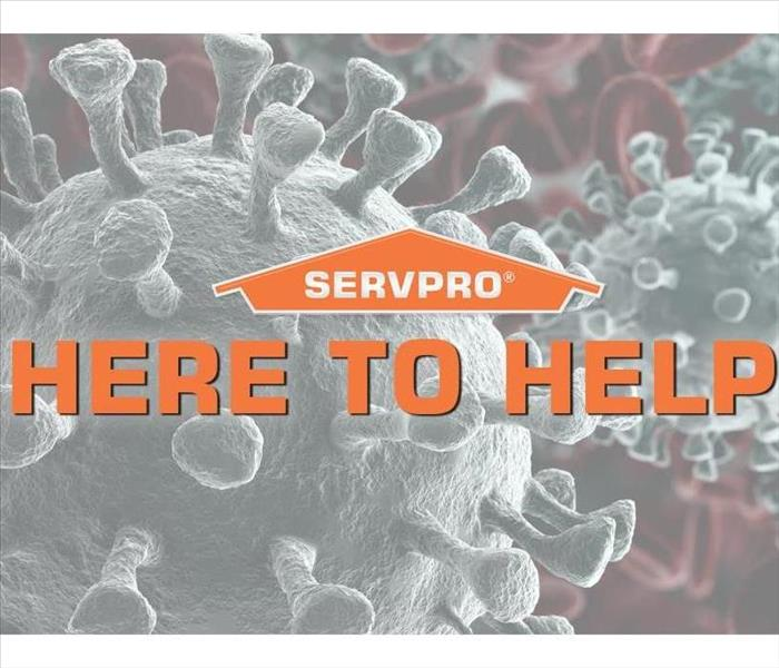 SERVPRO logo with germs in the background.